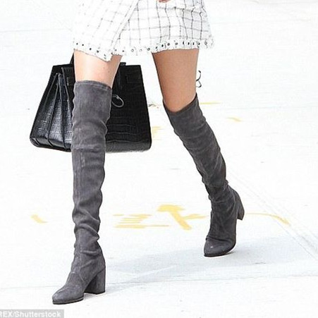NEMAONE Women boots Stretch Slim Thigh High Boots Sexy Fashion Over the Knee shoes High Heels Woman Shoes black gray color