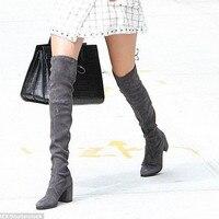 Nemaone Для женщин сапоги Стрейчевые тонкие высокие сапоги до бедра пикантная модная обувь выше колена женская обувь на высоком каблуке черный
