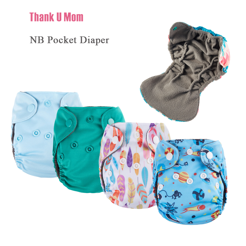 10Pcs NB Pocket Cloth Diaper Newborn Baby Diapers Charcoal Bamboo Inner Waterproof Minky PUL Outer Fit