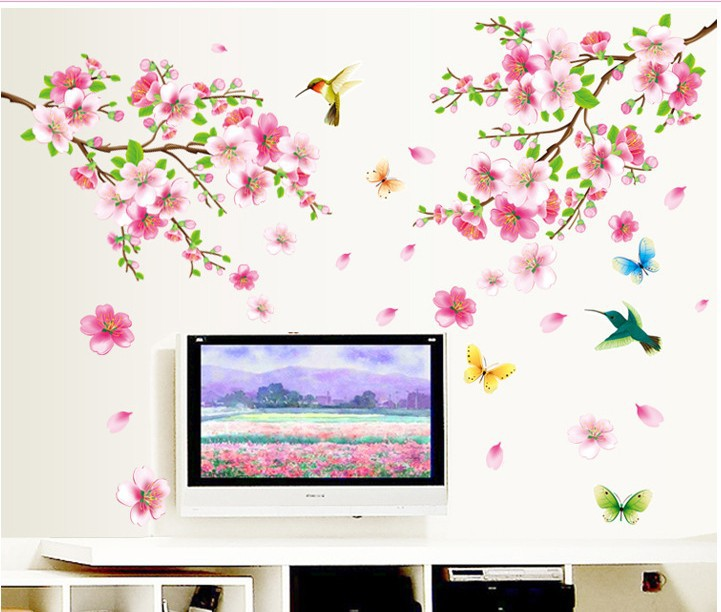 New arrival Elegant Flower Wall Stickers Graceful Peach Blossom birds Wall Stickers Furnishings Romantic Living Room Decoration