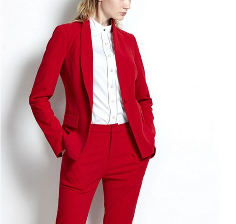 red Pant Suits Women Casual Office Business Suits Formal Work Wear Sets Uniform Styles Elegant Pant Suits Drop Sale red