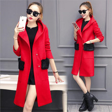 2016 Fall Winter NewWoolen Cloth Coat Women Fashion Temperament Han Edition Woolen Cloth Coat Cap Loose Long Woollen Coat