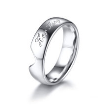His Queen Her King Couple Wedding Ring Romantic Heart Love Stainless Steel Promise Rings for Lovers Gift