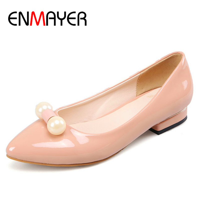 ENMAYER Spring Autumn Casual Women Pumps Shoes Pointed Toe Square Heel Slip-On Large Size 34-43 Nude Color Black Red White  2017 women lady shoes flat heel spring autumn boat pointed toe slip on casual simple mixed color pink yellow blue black red