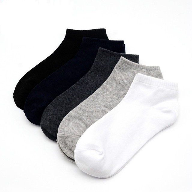 100% Cotton Black Men Short Socks Simple Soft Elastic Solid Ankle Socks Causal Daily Spring Summer Autumn Thin Socks Male