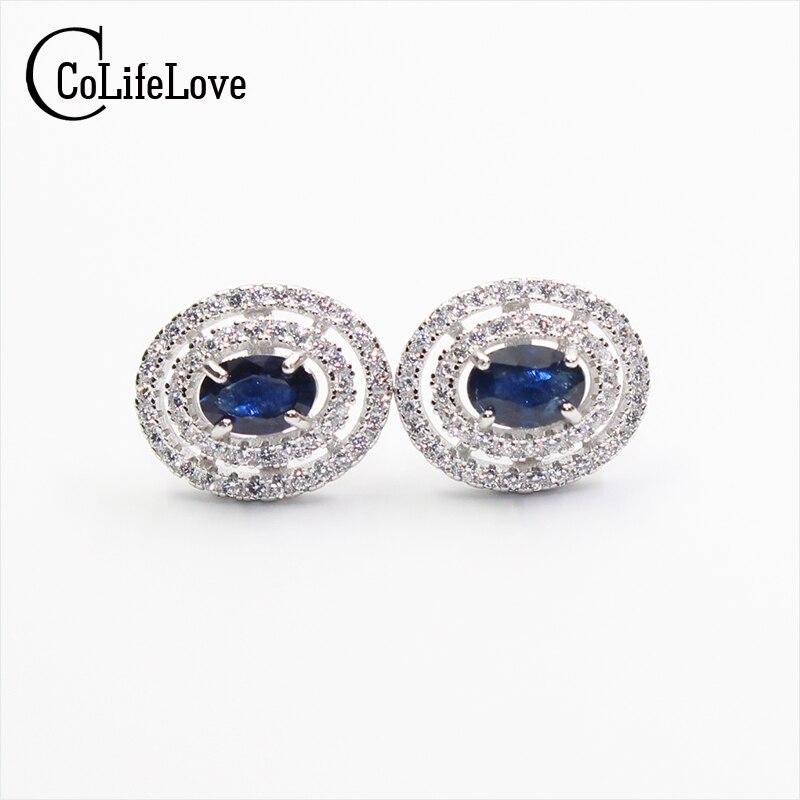 Classic sterling silver sapphire earrings 100% natural blu zaffiro orecchini per la donna reale dei monili 925 di modoClassic sterling silver sapphire earrings 100% natural blu zaffiro orecchini per la donna reale dei monili 925 di modo