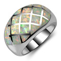 Hot Sale Exquisite White Fire Opal 925 Sterling Silver High Quantity Engagement Wedding Ring Size 5 6 7 8 9 10 11 A180