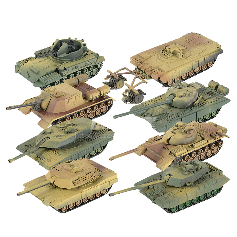 8pcs 1:72 4D Plastic Assemble Tank 1st Generation World War II Model Puzzle Assembling Military Sand Table Toys For Children