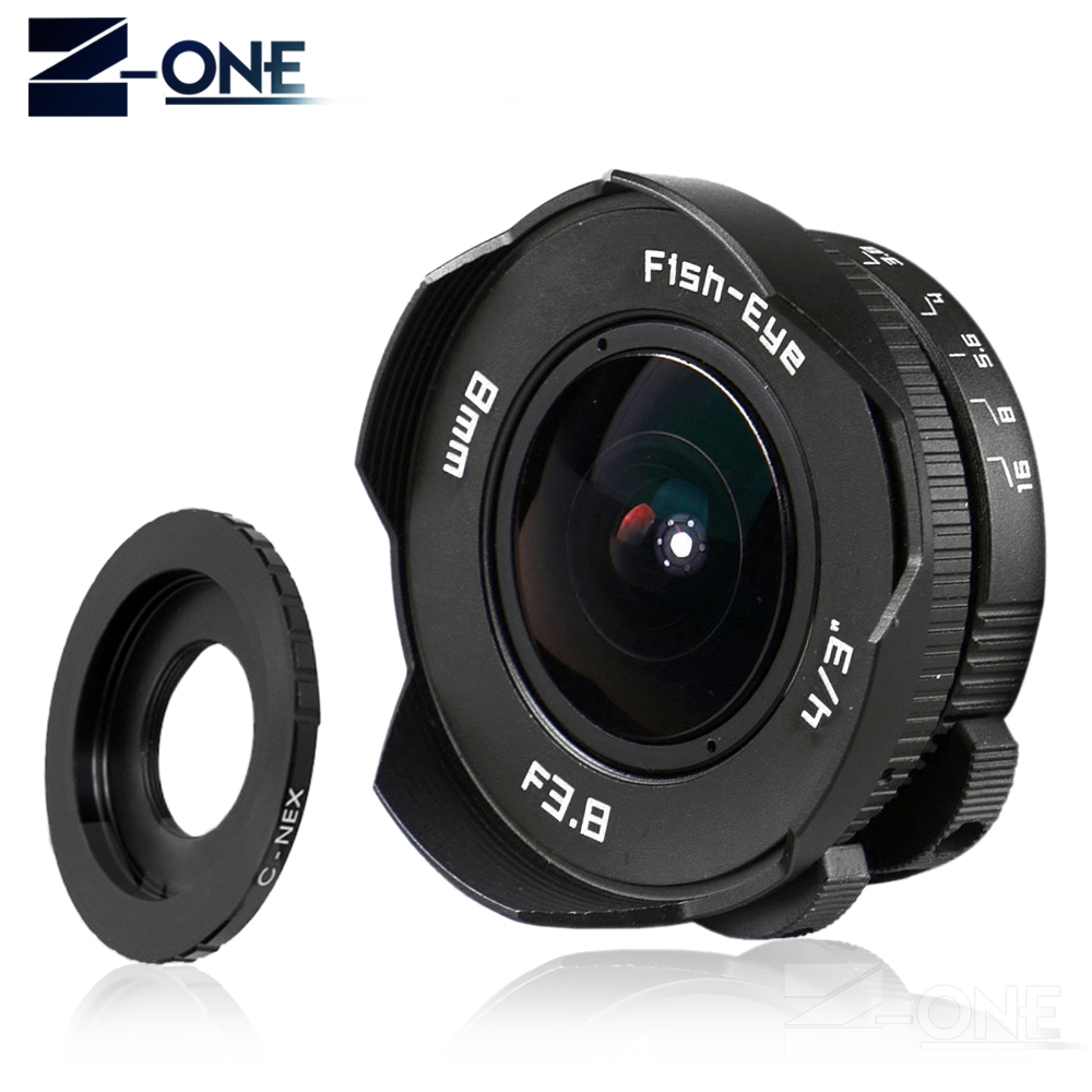 NEW 8mm F3.8 Fish-eye C mount Wide Angle Fisheye Lens Focal length Fish eye Lens Suit For Sony NEX-5R NEX-F3 NEX-7 NEX-5N NEX-5C