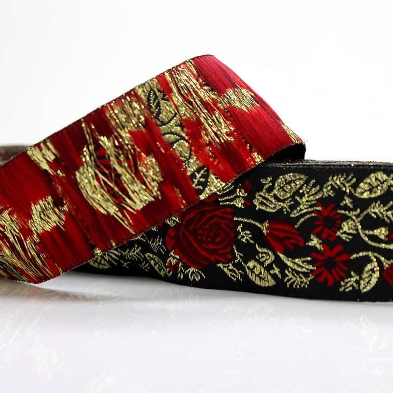 5 Yards belle Rose fleur Jacquard sangle ruban sangles pour chaussures sac vêtements rideau décoration bricolage matériel de couture Sup.