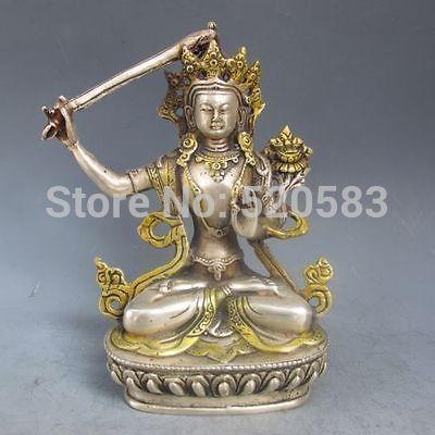 Free Chinese Silver Bronze Gilt Tibetan Buddhism Statue --- Manjushri Buddha Fast