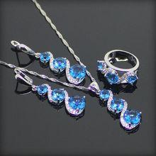 Moda 925 Plata de La Joyería Para Las Mujeres Ronda Astilla Azul Creado Topacio Pendientes/Colgante/Collar/Anillos Caja de Regalo libre