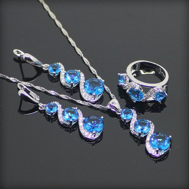 Trendy 925 Sterling Silver Jewelry Sets For Women Round Blue Created Topaz Sliver Earrings/Pendant/Necklace/Rings Free Gift Box