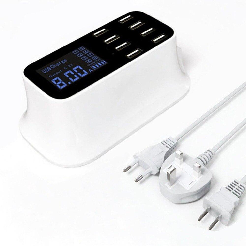 8 Port Smart Chip USB Charger Dock Station Led Display Mobile Phone Tablet Charging Desktop Power Adapter Socket Strip 2.4A