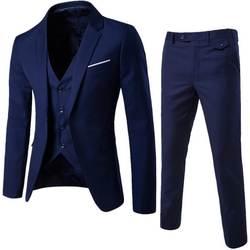 Puimentiua костюм + жилет + брюки 3 шт. мужской социальный Блейзер Костюмы тонкие однотонные свадебные костюмы мужской деловой пиджак костюм Homme 5XL