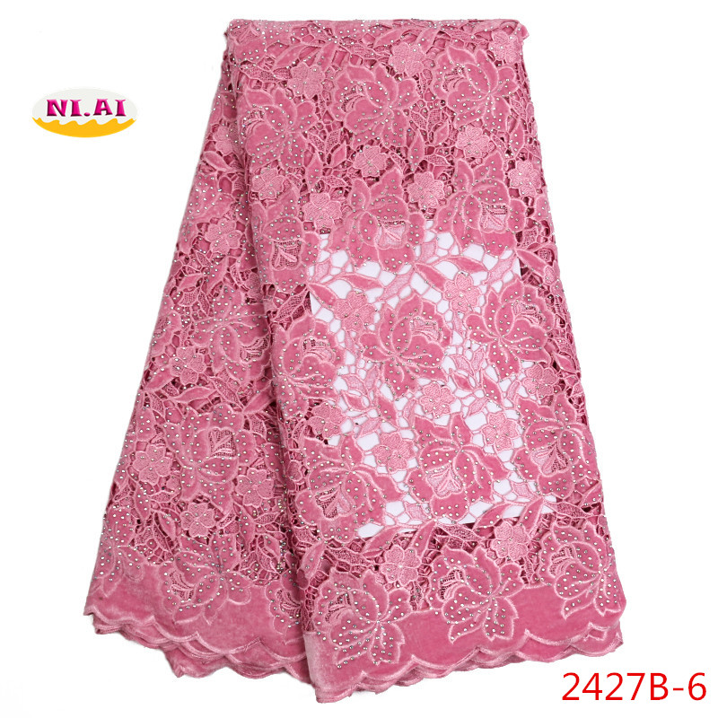 New Pink African velvet lace fabric with stones for party dress high quality hot sale Nigerian