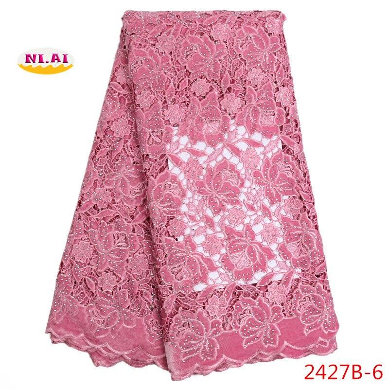 Ev ve Bahçe'ten Dantel'de Yeni pembe afrika kadife dantel kumaş taşlar ile parti elbise için yüksek kalite sıcak satış nijeryalı dantel kumaşlar NA2427B 1'da  Grup 1