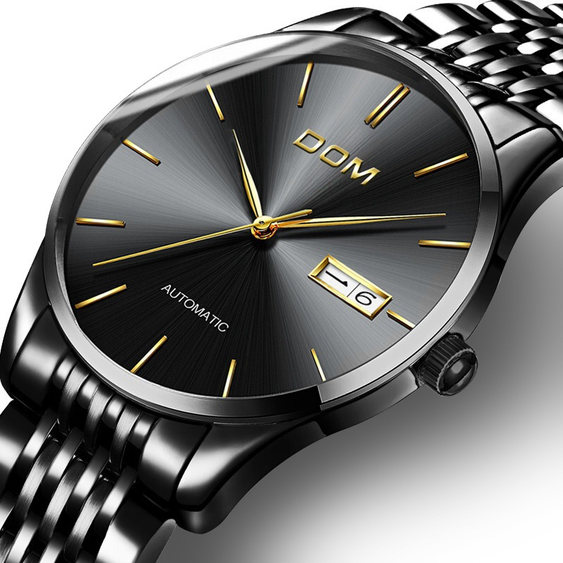 business mens watches Mechanical automatic stainless steel man watch DOM luxury brand wristwatches waterproof male clocks цена 2017
