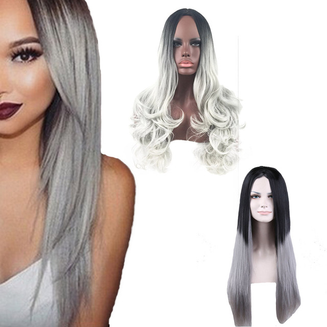 Sexy Women's Long Straight Curly Wig Straight Female Gradient Color  Resistant Hair Cosplay Party Full Hairnet