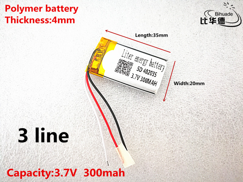 3 line Good Qulity 3.7V,300mAH,<font><b>402035</b></font> Polymer lithium ion / Li-ion <font><b>battery</b></font> for TOY,POWER BANK,GPS,mp3,mp4 image
