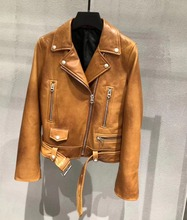 High quality real leather womens jackets 2019 spring autumn sheepskin moto & biker women coat G151