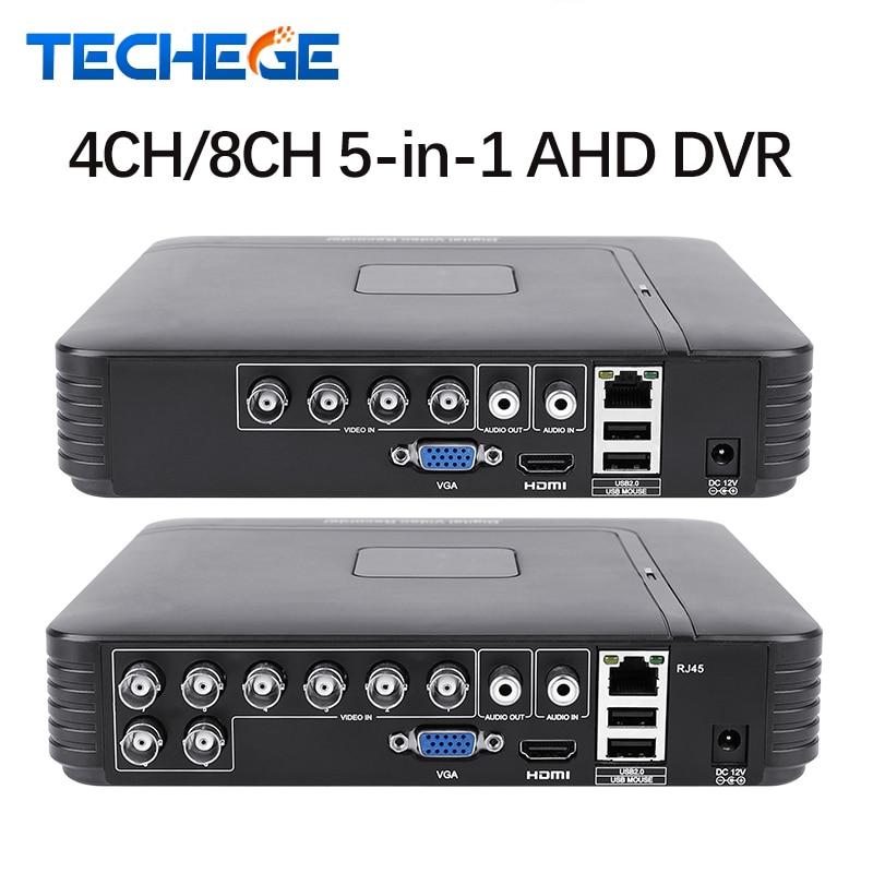 Techege 4 Channel 8 Channel AHD DVR AHD-M 720P/960H CCTV DVR 4CH 8CH Mini Hybrid HDMI DVR Support IP Analog AHD Camera P2P цены