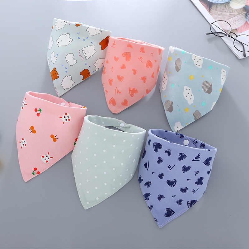 Baby Bibs Waterproof Triangle Cotton Bandana Bibs Double-layer Child Baberos Dribble Bibs Newborn Slabber Absorbent Cloth