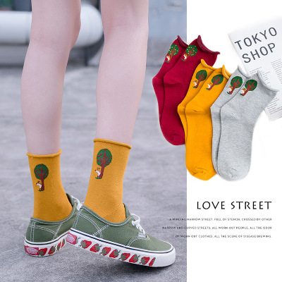 Women Socks 2019 Autumn New Product Loose Mouth Creck Cartoon Jacquard Cotton Comfortable Korean Style Fashion  Socks Women
