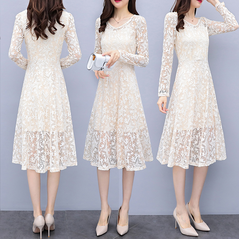 Elegant Autumn Midi Lace Dress Long Sleeve V neck A line White Lace Dress Black Pink Cream Womens Party Vestidos 2018
