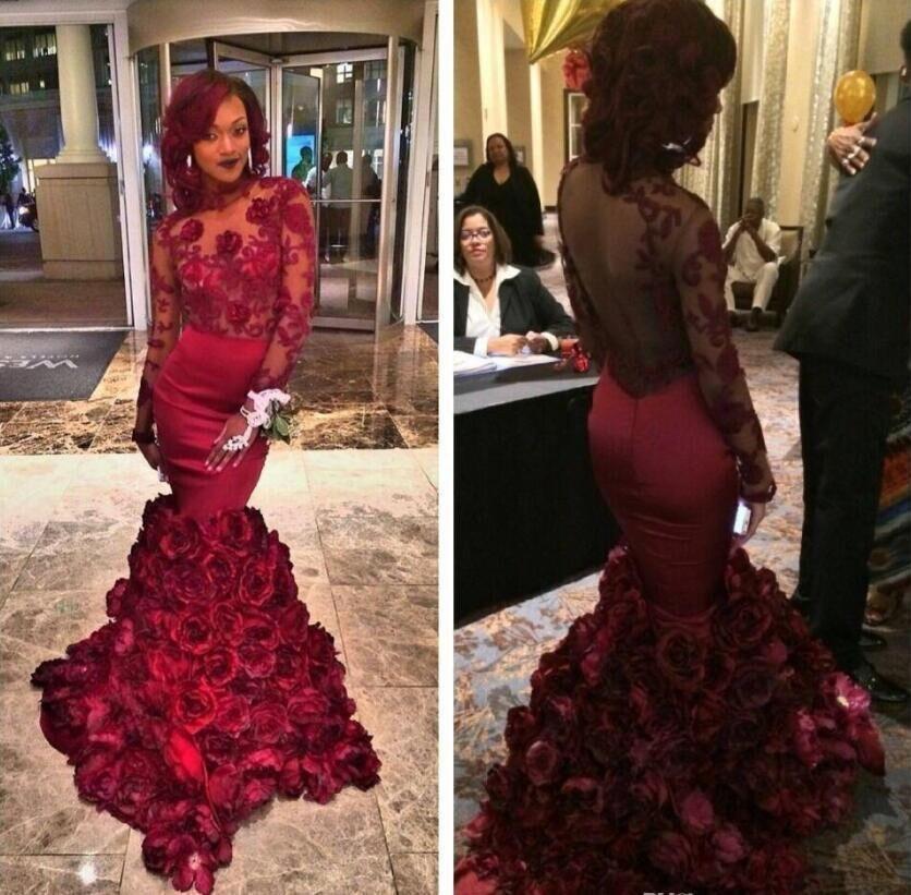 Burgundy Mermaid Prom Dress 2017 New Long Sleeve Backless