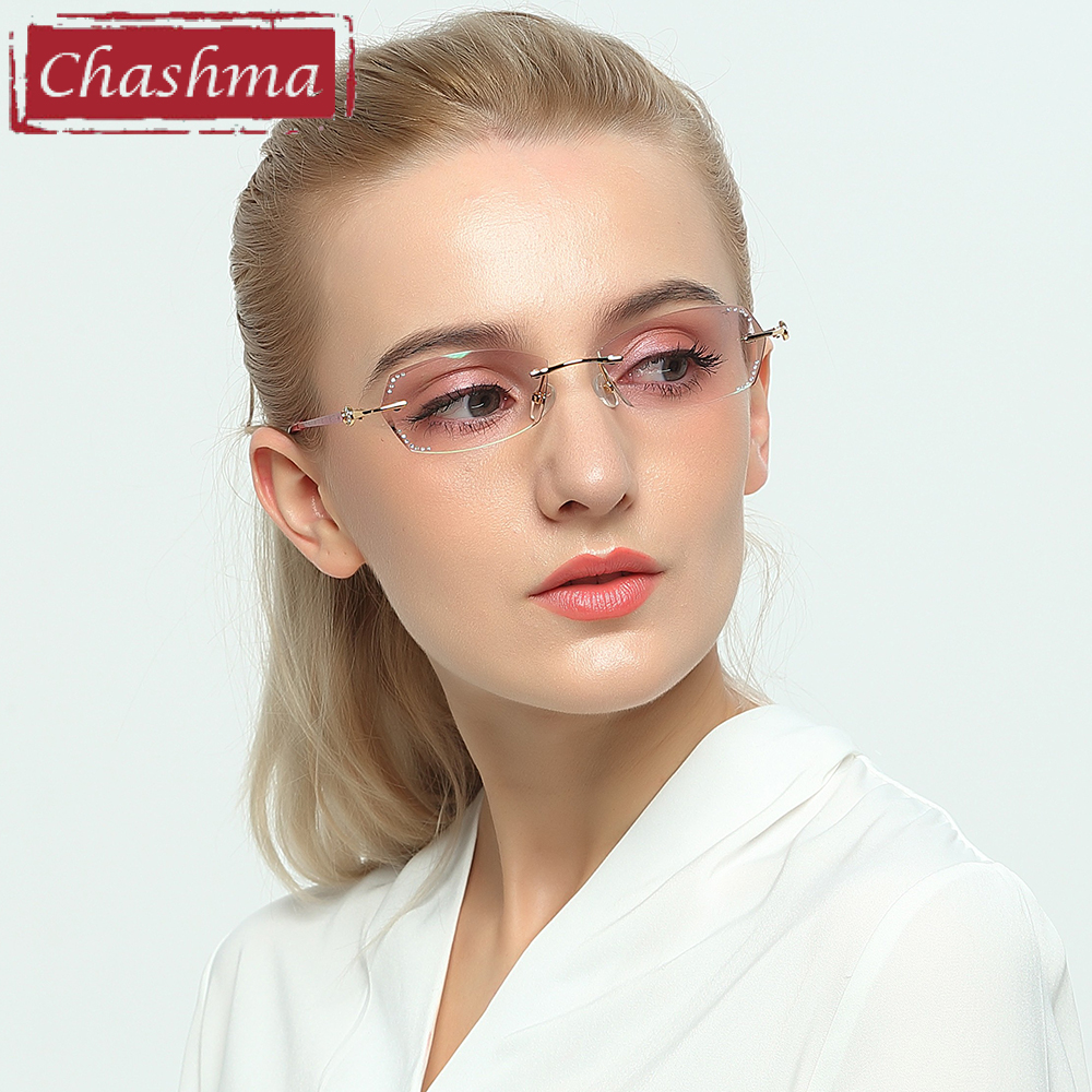 Chashma Luxury Colored Lenses Diamond Trimmed Women Quality Titanium Glasses Frame Rhinestone Lenses Fashion Rimless Eyeglasses