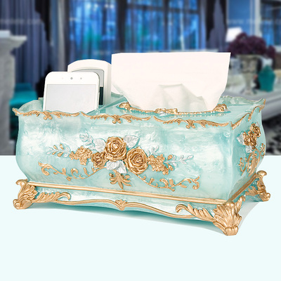 Luxe creative style Européen pastorale boîte de tissu multifonctionnel salon maison boîte de papier de stockage de résine de la maison plateau