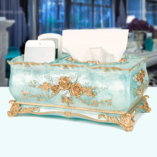 Luxury creative European style pastoral multifunctional tissue box living room home paper box storage home resin tray