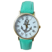2017Stylish Women's Roman Numerals watch Anchor Faux Leather Analog Quartz Watch Fashion Watches Superior famous Relogio Watches