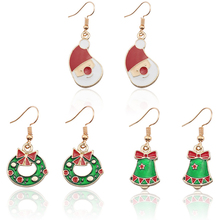 Fashion Creative Christmas Earrings Female Cute Gold Santa Claus Christmas Bow Gift Bell Christmas Earrings Jewelry Dropshipping цена