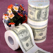 TR001 Free Shipping 3Pcs Money Toilet Roll - Dollar Bill Paper Novelty Tissue Wholesale