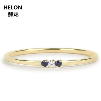 Genuine Sapphire and Diamond Ring for Women Engagement Wedding Solid 14k Yellow Gold Thin Stacking Minimalist Promise Ring