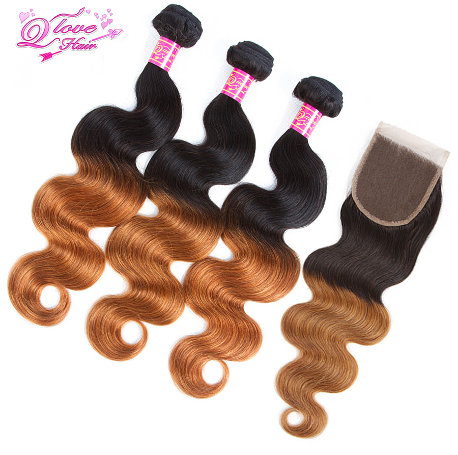 Queen Love Hair Pre-Coloed Ombre Peruvian Hair Body Wave 1b/30 Human Hair 3 Bundles With Closure Non Remy Human Hair