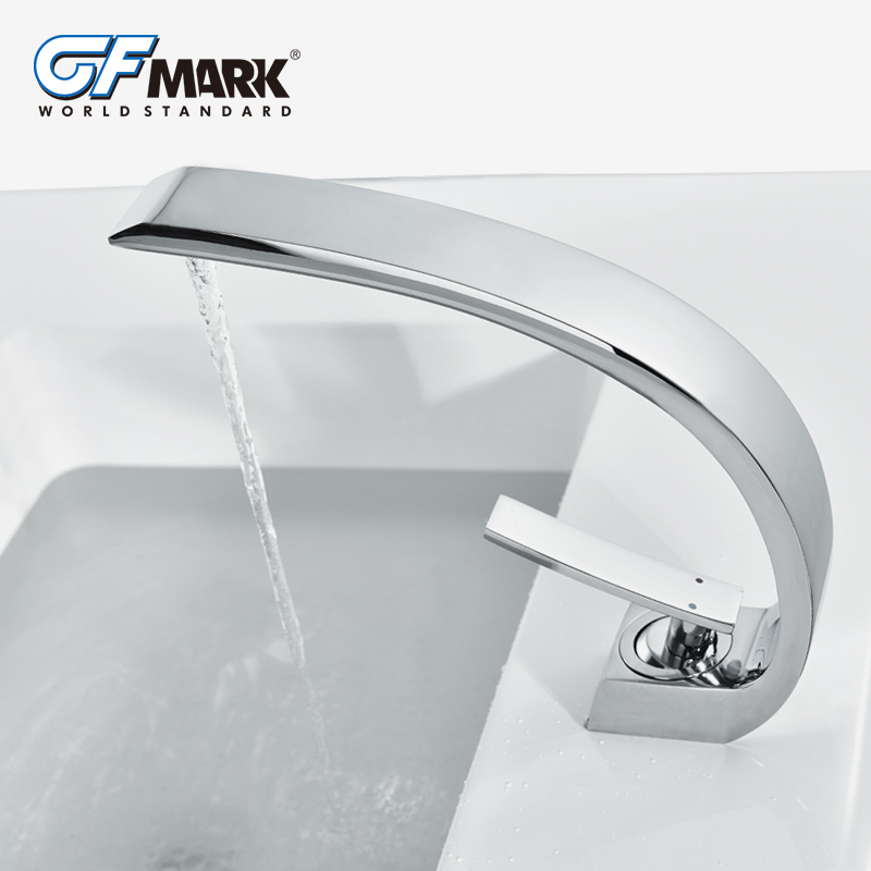Bathroom Sink Basin Faucet Deck Mount Bright Chrome Washing Basin Mixer Water Taps bath Creative Hot and Cold Water Crane Mixers