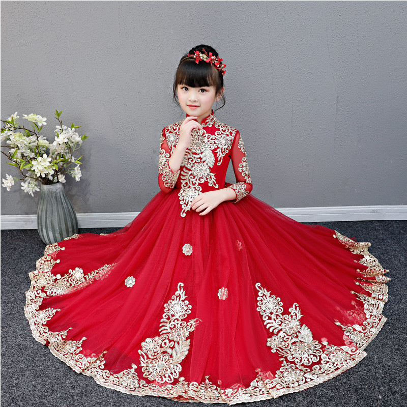 Little Girls Toddler Elegant Wine-red Embroidery Flowers Birthday Wedding Party Prom Dress Kids Teens Luxury Host Piano DressLittle Girls Toddler Elegant Wine-red Embroidery Flowers Birthday Wedding Party Prom Dress Kids Teens Luxury Host Piano Dress