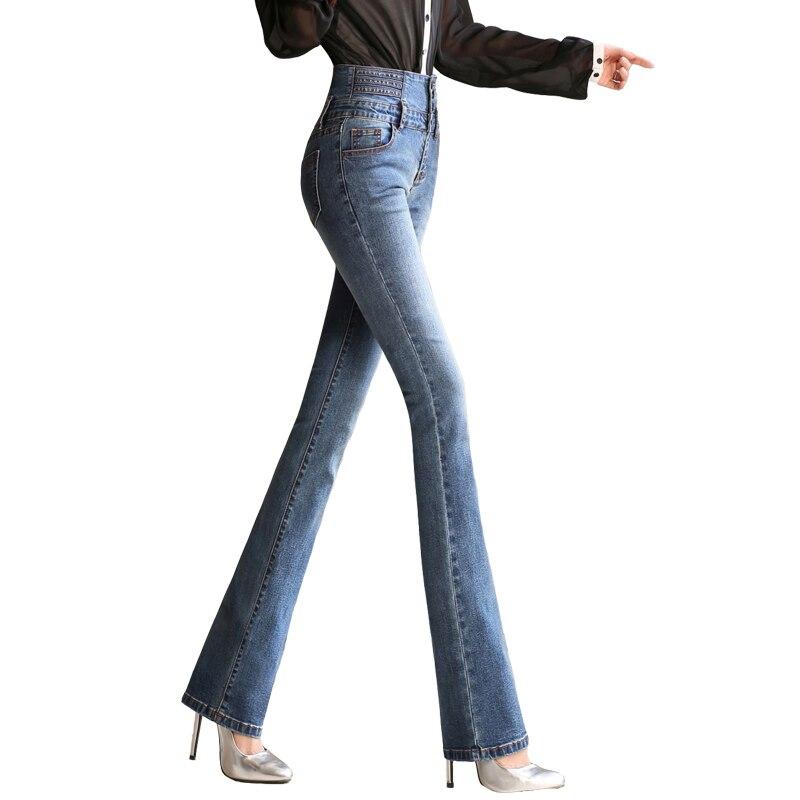 2018 Jeans Femmes de Haute Taille Élastique Skinny Denim Flare Long  Pantalon 33 Femme Jeans Camisa Feminina Lady Pantalon E221 ca8b63afded6