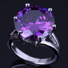 Cute Round Purple Cubic Zirconia 925 Sterling Silver Ring For Women V0479