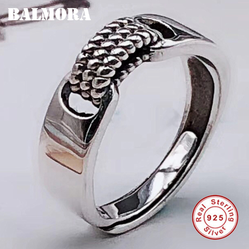 BALMORA 925 Sterling Silver Resizable Rings for Men Party Gift Simple Fashion Ring Vintage Thai Silver Jewelry Anillos SY22520 new 6 1 inch lcd screen double 30pin original model pm06wx1 fl