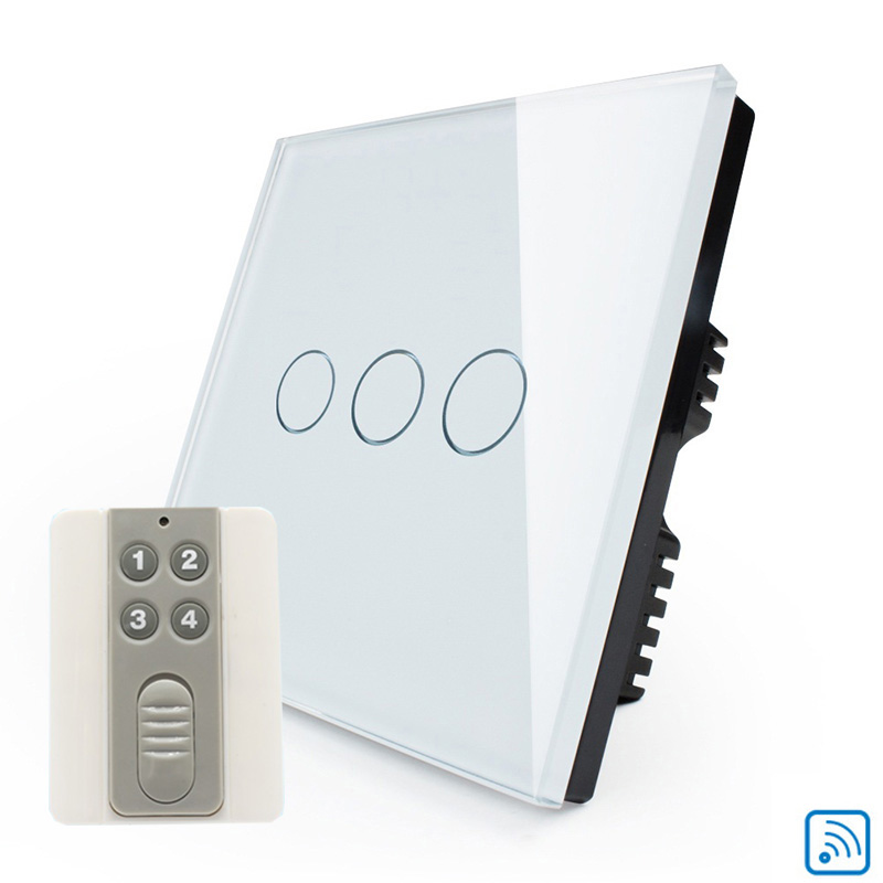 Interruptor touch switch, UK Remote Control Light Switch 220V White Crystal Glass Panel 3Gang1Way Remote Wall  Switches free shipping white crystal glass switch panel 12v touch switch interruptor 2 gang 2 way remote control wall switch for lamps