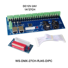 Free shipping 27channels DMX512 decoder with XRL 3P RJ45 27CH led RGB controller for led strip light led lamp,DC12V-24V