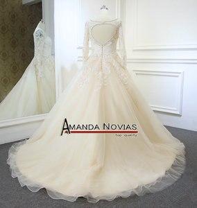 Image 5 - Vestidos de noiva 샴페인 컬러 a 라인 웨딩 드레스 백 홀 2019