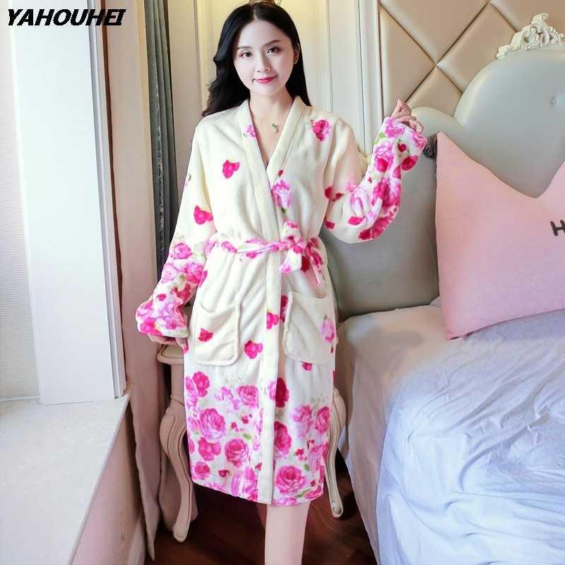 b5b50da4d156 Thick Warm Soft Flannel Kimono Robes for Women 2018 Winter Long Sleeve  Flower Coral Velvet Bathrobe