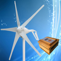 2020 New Type 400W Wind Power Generator 3/5PCS Blades Optional + MPPT Wind Solar Hybrid Charge Controller (LCD Display)