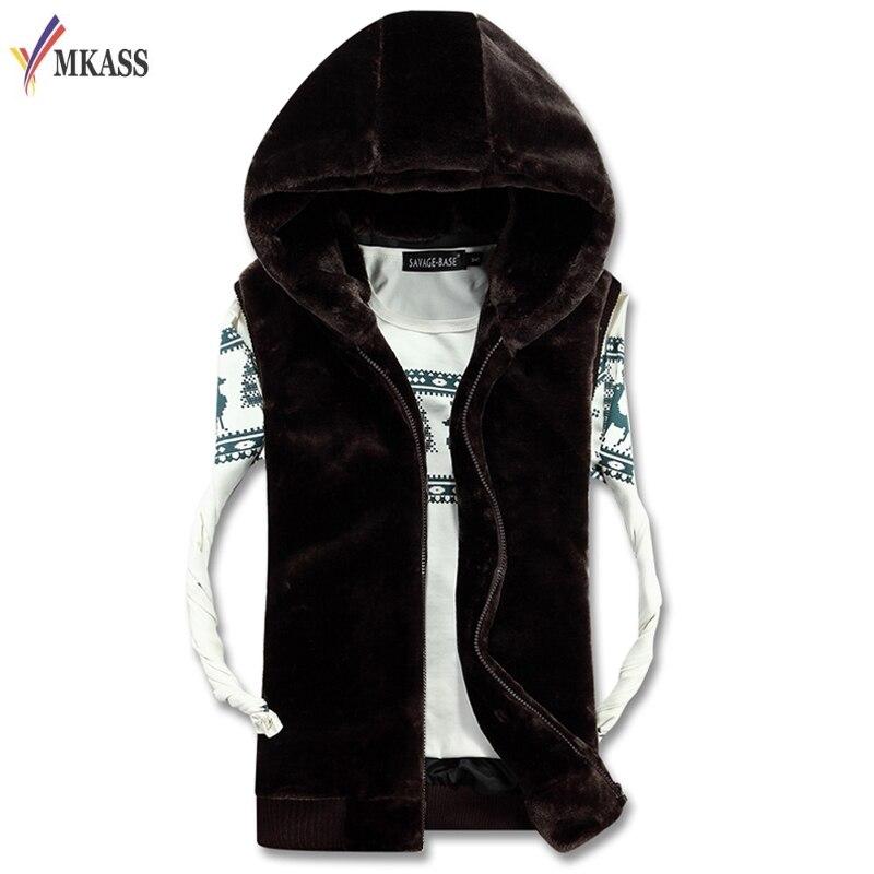 2017 Casual Winter Warme Herren Pelz Weste Mode Mit Kapuze Ärmellose Mantel Für Männer Faux Pelz Weste Für Jugend Plus Größe 4xl