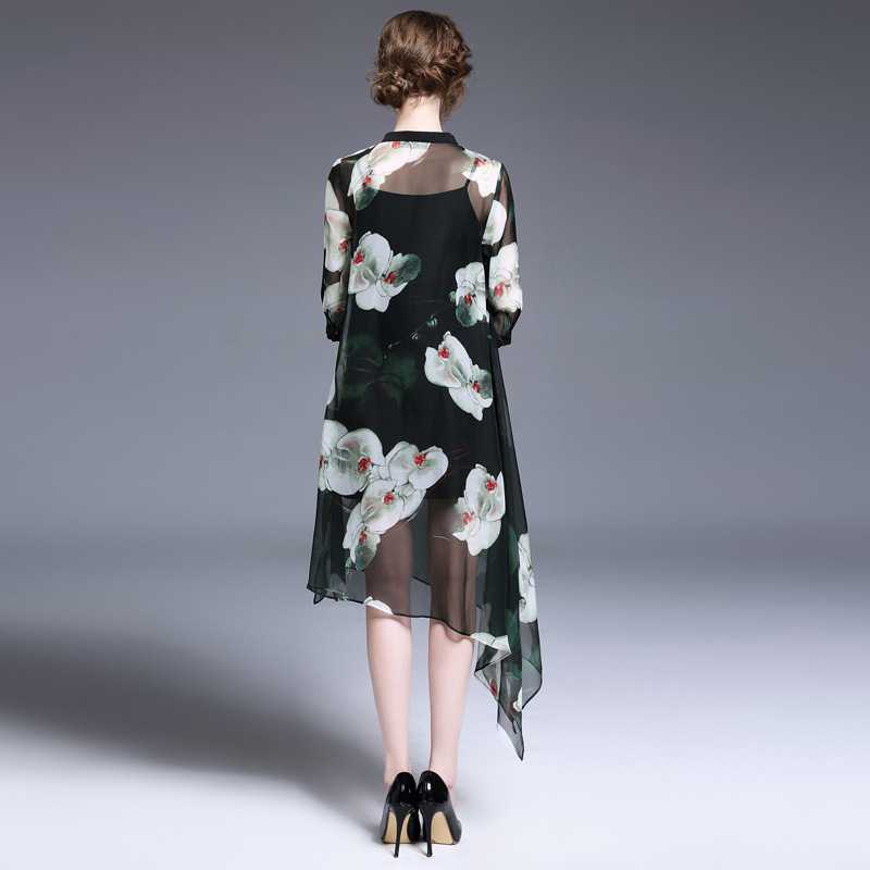 Cheongsam Soie D'une De Plage Robes 2017 Imprimé Printemps Seule Pièce Vêtements Fleurs Nouvelles Femmes Robe 17107 4tRxnqnB8